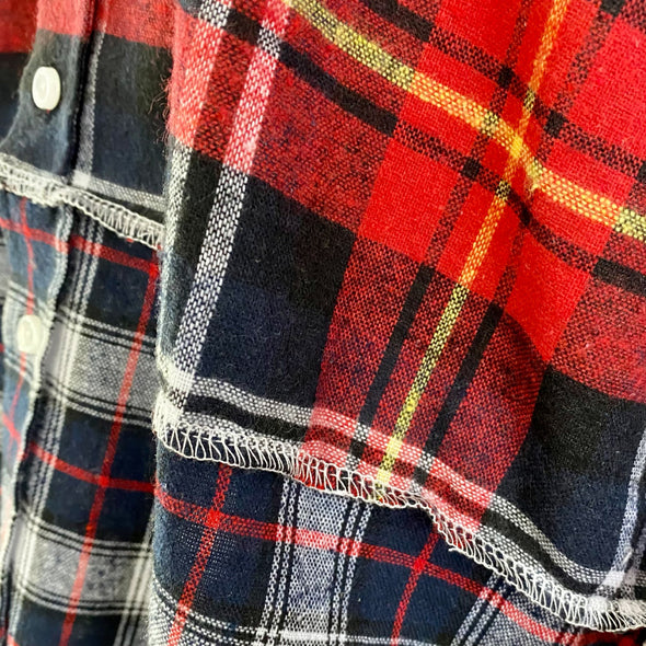 Long Split Flannel Button Down - Red/White