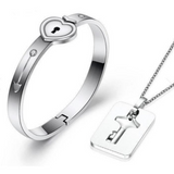 Heart Bracelet And Key Necklace Set (Silver) - Mareets Philippines