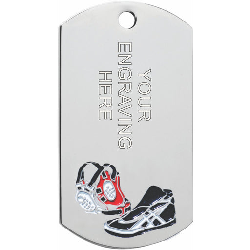 Wrestling Dog Tag Medal