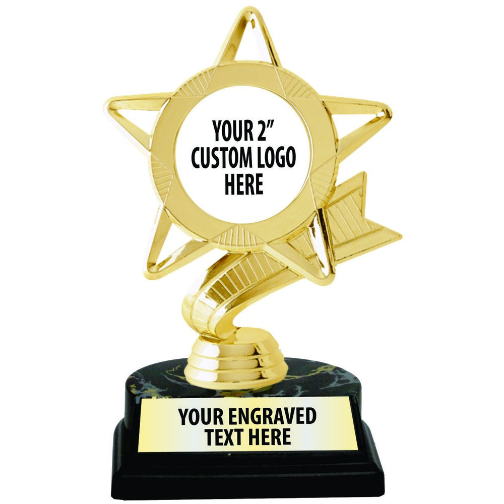 "6 1/2"" Gold Star Mylar Insert Trophy"