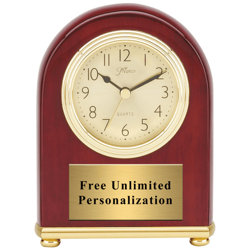 XL Rosewood Piano Finish Arch Desk Clock