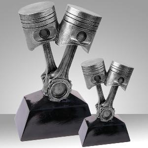 Antique Silver Piston Resin Statues