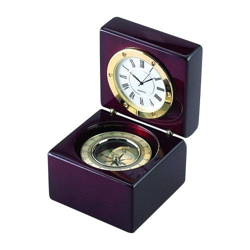 Square Wood Box with Clock and Compass Clock Awards