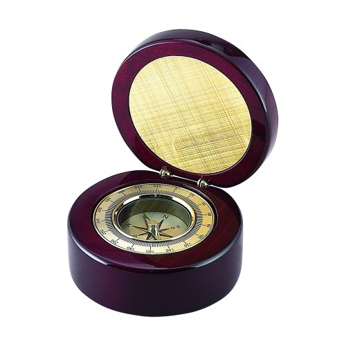 Round Wood Box with Compass and Engraving Plate Clock Awards