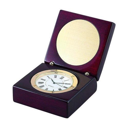 Square Wood Box with Clock and Engraved Plate