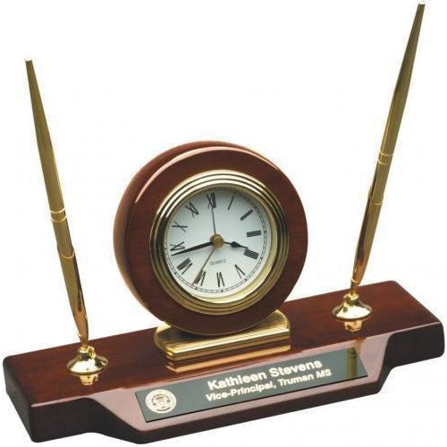Rosewood Piano Finish Desk Clock w/ Two Pens