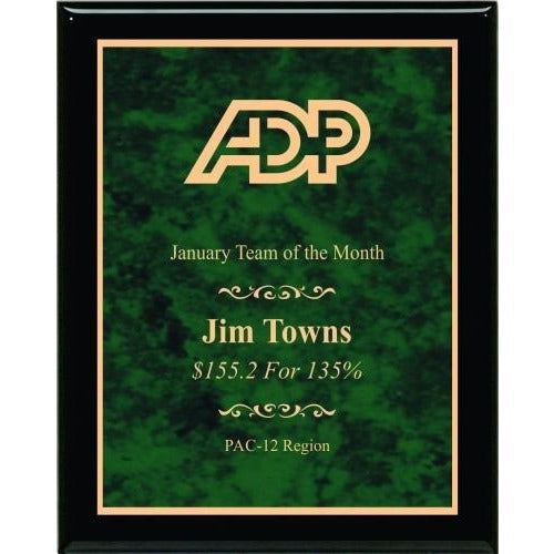 Green Marble Plate Piano Finish Plaques Corporate Plaques