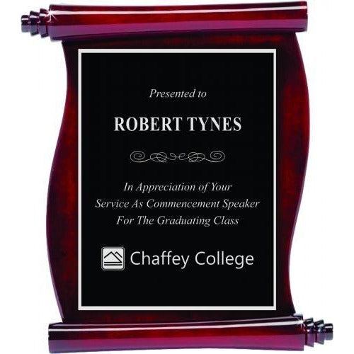 Rosewood Piano Finish Scroll Plaques Corporate Plaques