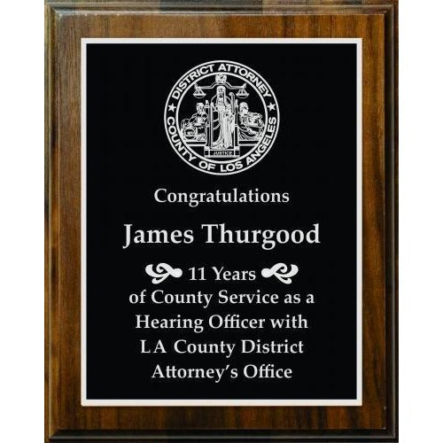 Walnut Wood Finish Plaque Corporate Plaques