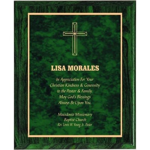 Green Woodgrain with Green Marble Plate Plaques Corporate Plaques - Action Awards