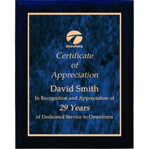 Blue Woodgrain with Blue Marble Plate Plaques Corporate Plaques