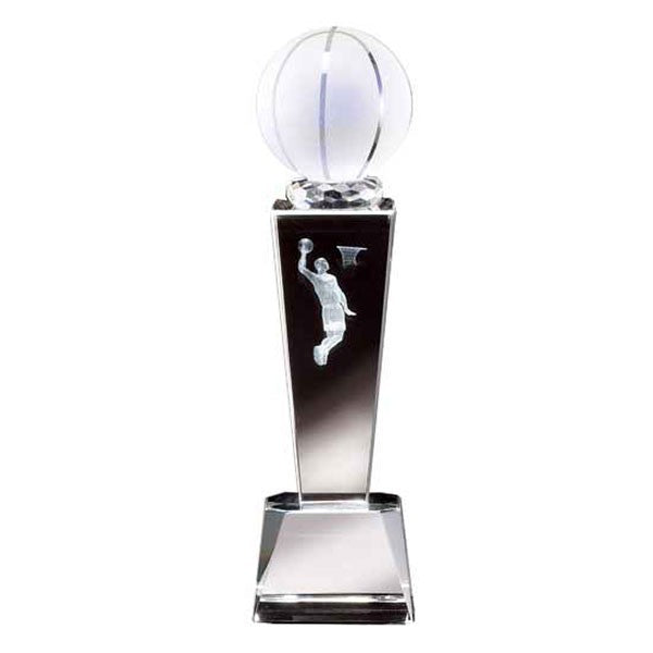 "9"" Basketball Crystal w/ 3D Image, Male"