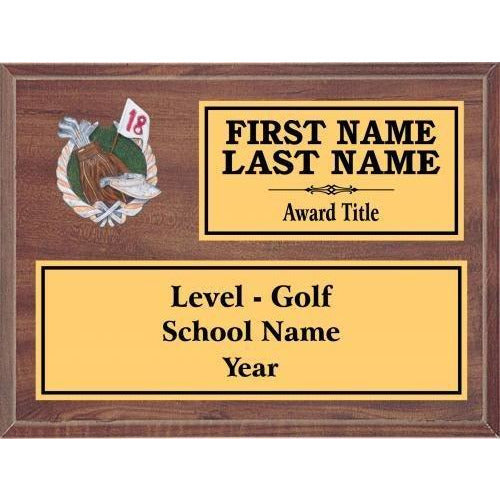 Golf Classic Cherry Wood Gold Plated Resin Icon Plaques Golf