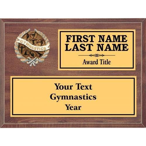 Gymnastics Classic Cherry Wood Gold Plated Resin Icon Plaques Gymnastics