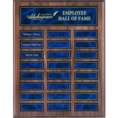 Walnut Perpetual Plaque with Blue Plates Perpetual Plaques