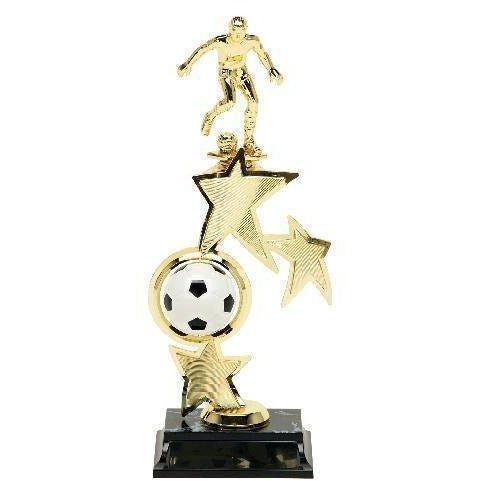 Soccer Spin Star Male with Riser Soccer Trophies - Action Awards