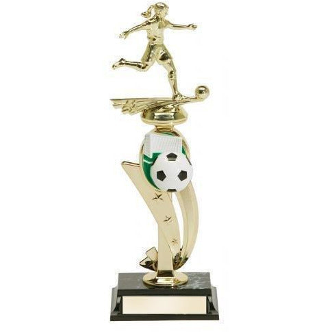 Soccer Action Female Trophy With Color Riser Soccer Trophies - Action Awards