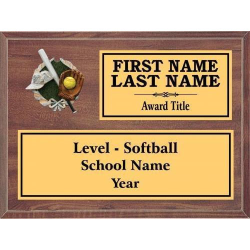 Softball Classic Cherry Wood Gold Plated Resin Icon Plaques Softball