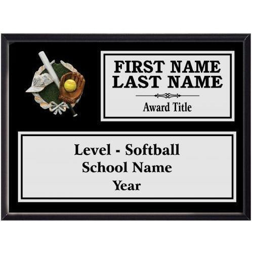 Softball Classic Black Wood Silver Plated Resin Icon Plaques Softball