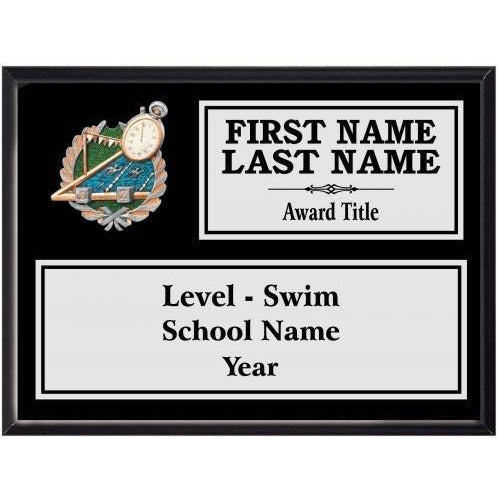 Swimming Classic Black Wood Silver Plated Resin Icon Plaques Swimming & Diving