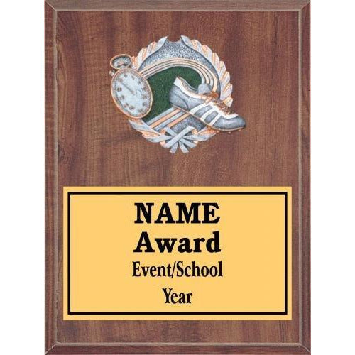 Track & Field Icon Plaque - Cherry Finish