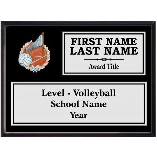 Volleyball Classic Black Wood Silver Plated Resin Icon Plaques Volleyball