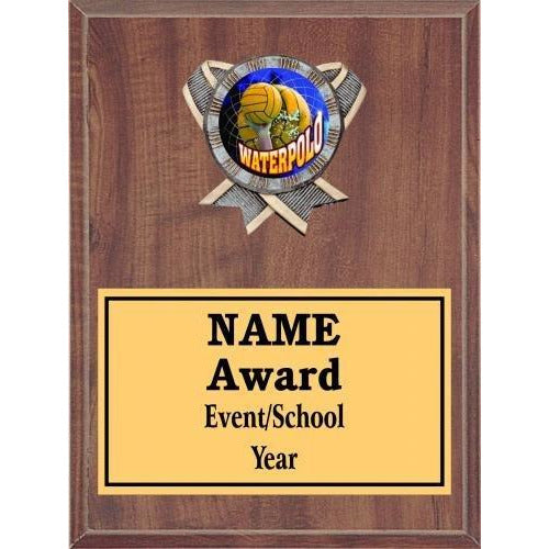 Water Polo Icon Plaque - Cherry Finish