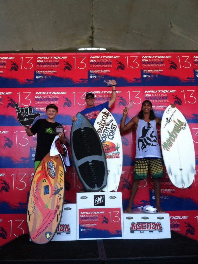 Outlaw Mens Surf: 1st Place Chris Bank taking home a new Phase 5 Surfboard. 2nd place Zane Montgomery and 3rd Place Edrich.