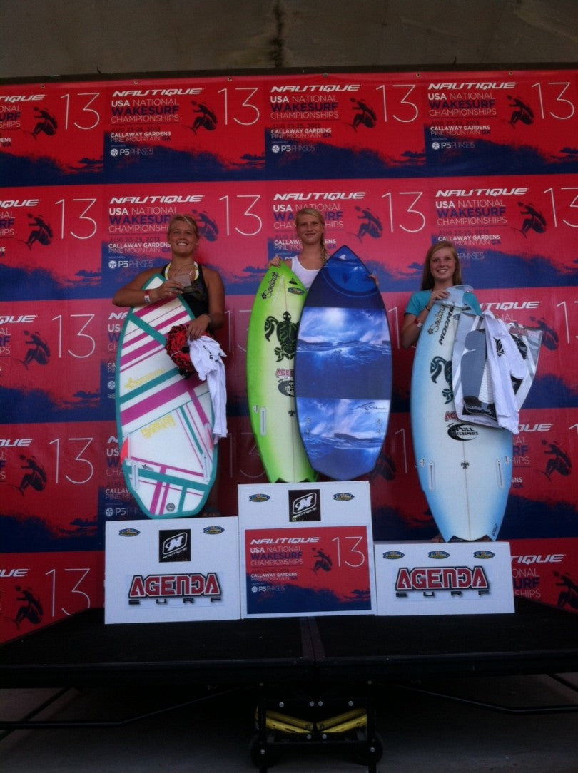 Outlaw women: 1st Place Jordan Wolfe winning a new Phase 5 Surfboard. 2nd Place Raya Walker and 3rd Taylor Wolfe!