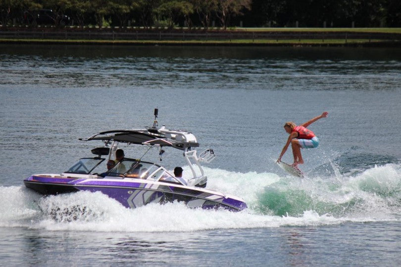 Trevor boosting behind the Nautique G23.