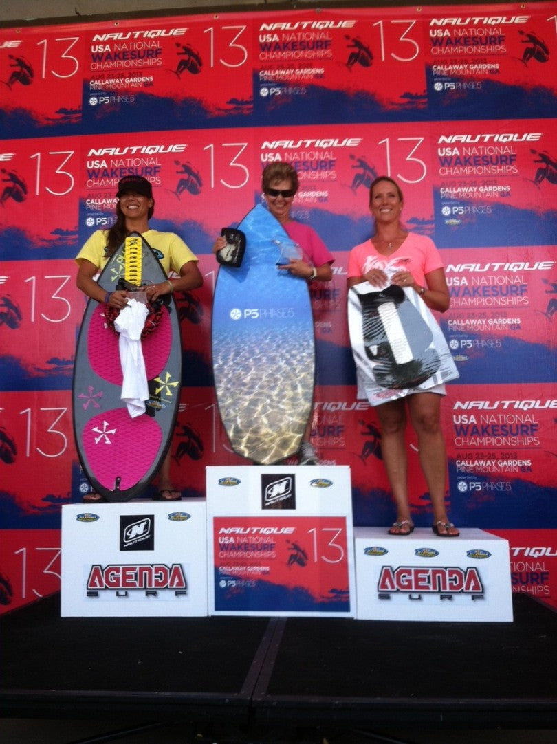 Masters Women- 2nd Place Donna from Allatoona Adventures on her Phase 5 Diamond. And Judy Walker wins a new Phase 5 Surfboard.