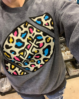 Inside Out Multi Leopard Football Sweatshirt