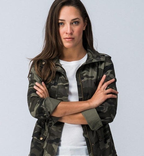 CAMO ZIP UP LONG SLEEVE JACKET WITH POCKET
