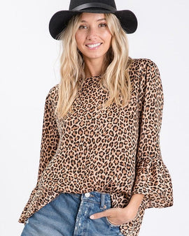 Animal printed woven top