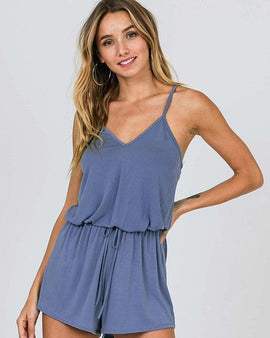 Sleeveless Strappy Romper with Drawstring Waist and self tie