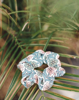 Blush Blue Floral Scrunchie