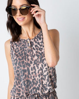Animal Print Sleeveless Romper with Button Detail
