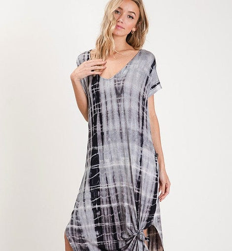 Tiedye print maxi dress with side slit.
