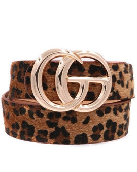 Faux fur leopard print metal ring buckle belt Width