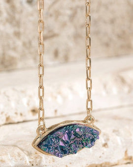 Stunning dainty druzy stone and long elongated cable chain necklace