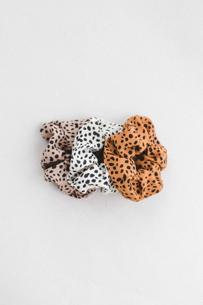 Dot Leopard Print Scrunchie