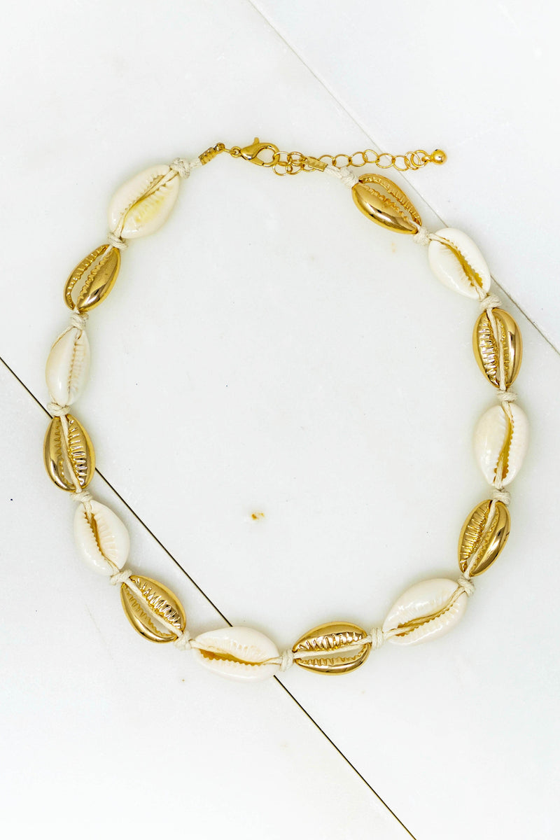 Puka and Gold Shell Anklet