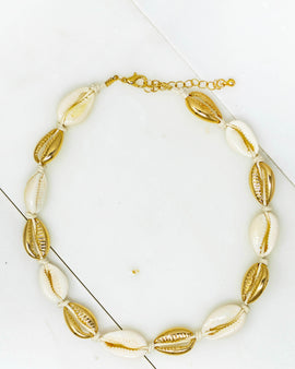 Puka Shell and Gold Choker