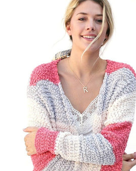 MULTI COLOR STRIPED POPCORN CARDIGAN