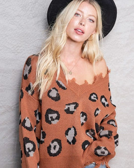V-neck Animal Distressed Sweater