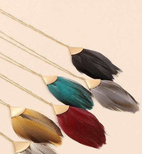 Feather Metal Pendant Long Necklace
