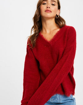 V-NECK SCALLOP HEM PULLOVER KNIT SWEATER