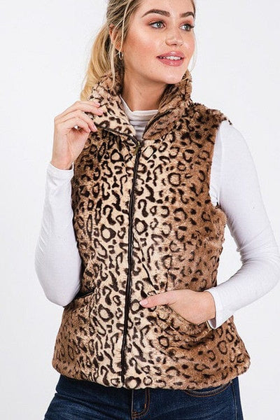 LEOPARD ZIP FRONT VEST WITH POCKETS