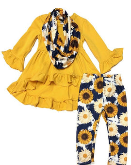 YELLOW HIGH-LOW RUFFLE TOP W/  PRINTED SUNFLOWER LEGGINGS & MATCHING SCARF