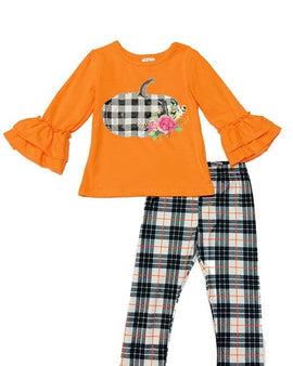 PLAID PUMPKIN APPLIQUE ON ORANGE RUFFLE TOP W/ LEGGINGS MULTI PRINTED STRIPE .